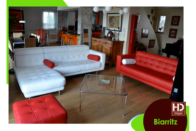 Canap d 39 angle sur mesure rouge et blanc biarritz - Canape d angle sur mesure ...